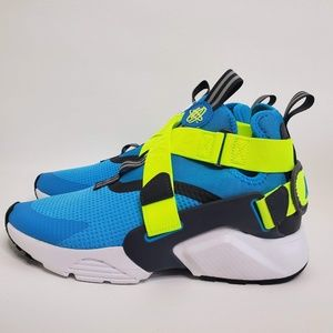 NEW Nike HUARACHE CITY Blue Neon CASUAL SHOES AJ66